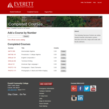 Everett Community College advisor portal final
