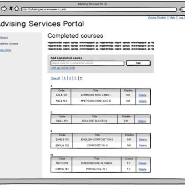Everett Community College advisor portal Balsamiq wireframe